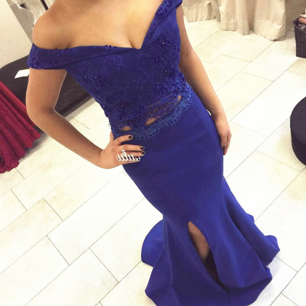 Blue Beading Appliques Off-the-Shoulder Satin Prom Dresses 2017
