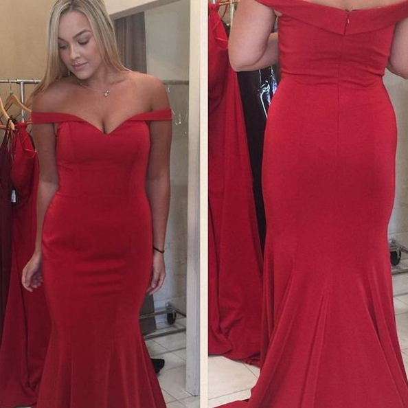 Red Off-the-Shoulder Zipper Mermaid Prom Dresses 2017