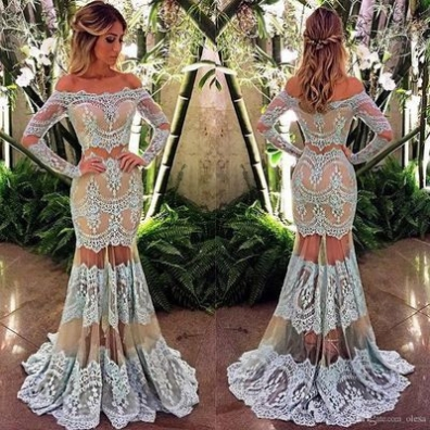 White Trumpet/Mermaid Long Sleeves Natural Zipper Floor-Length Lace Prom Dresses 2017