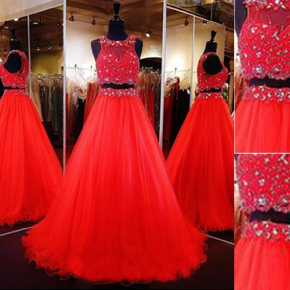 Red Long A-line Beading Two Pieces Tulle Prom Dresses 2017