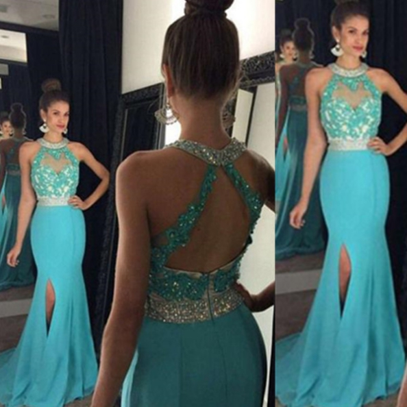 Blue Long Trumpet/Mermaid Lace Split Front Chiffon Prom Dresses 2017