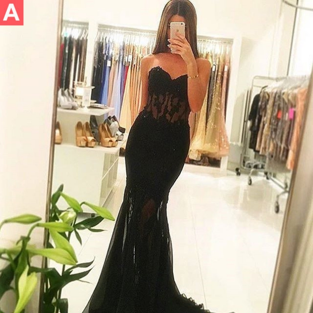 Black Sexy Sweetheart Sweep Train Mermaid Tulle Prom Dresses 2017