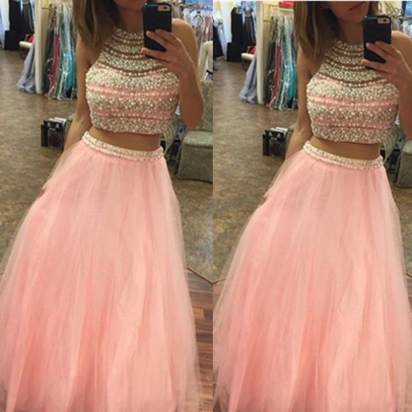 Halter Beading A-line Tulle Two Pieces Prom Dresses 2017