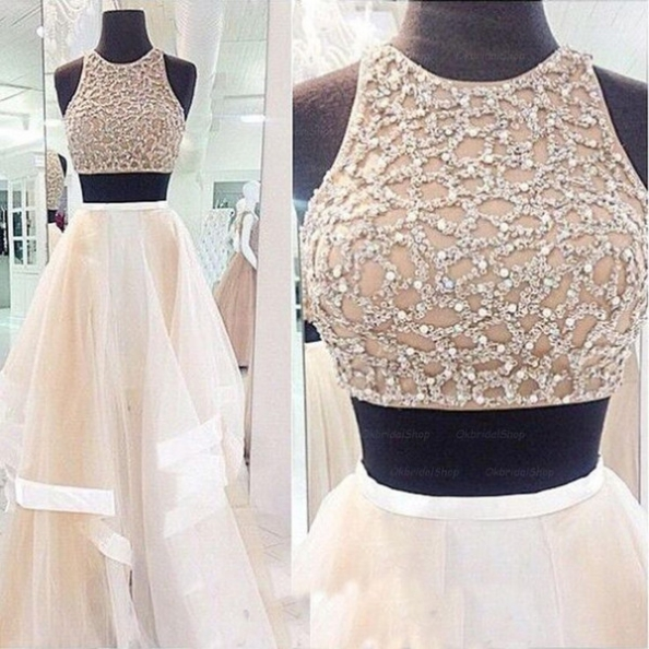 Long A-Line Sleeveless Sequins Tulle Prom Dresses 2017
