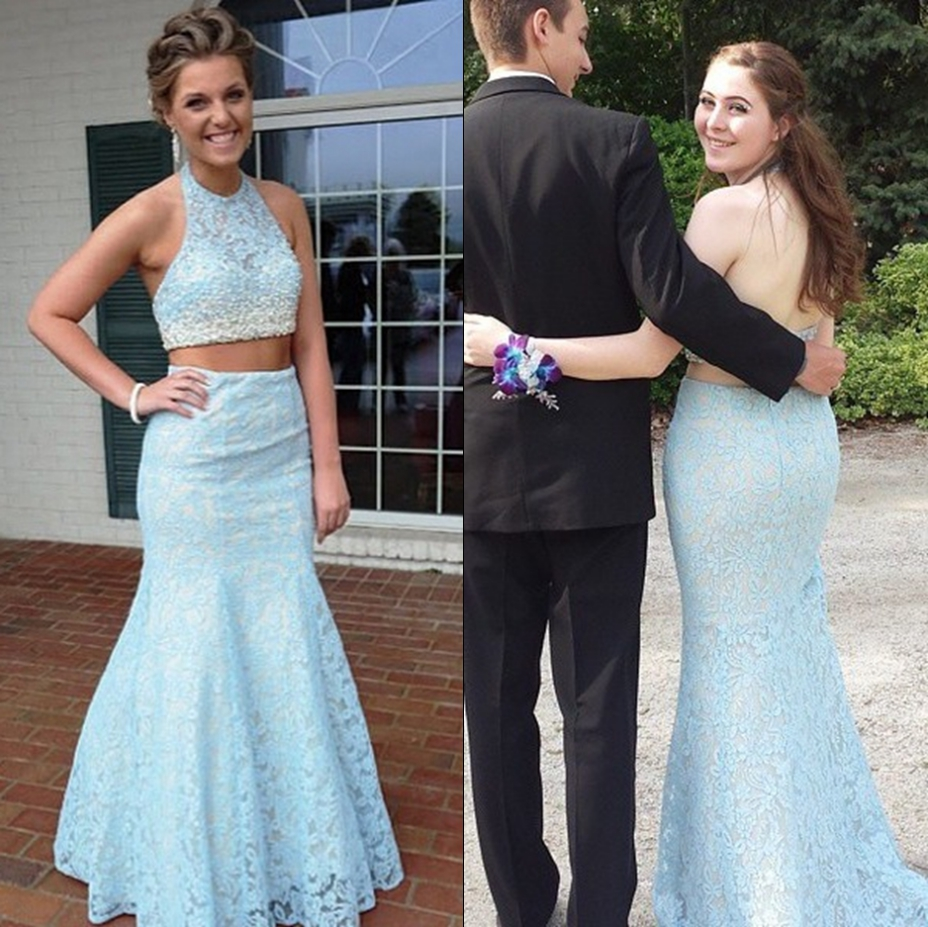 Light Blue Two-Piece Floor Length Lace Mermaid Prom Dress