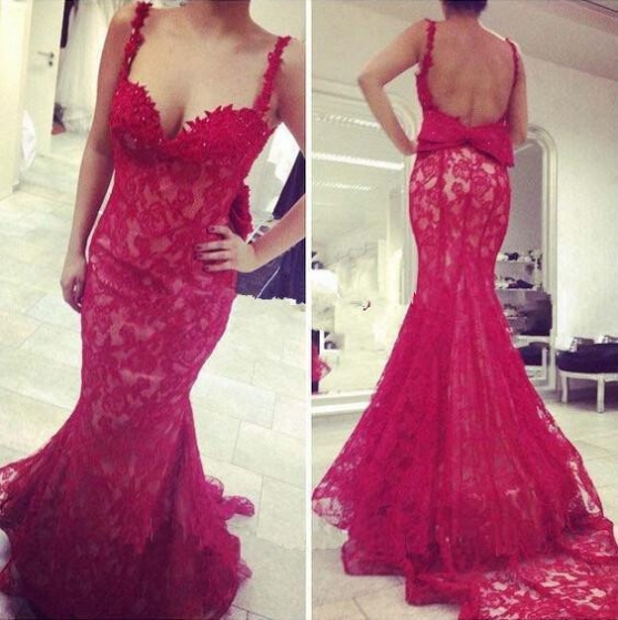 Red Spaghetti Straps Mermaid Lace Prom Dresses 2017