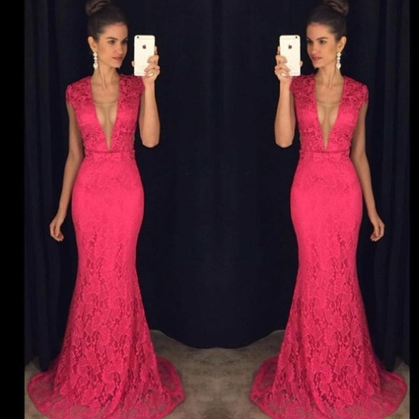 Prom Dresses 2017 Long Trumpet/Mermaid V-Neck Lace