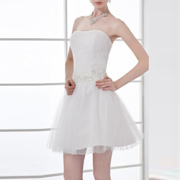 White Prom Dresses 2017 A-line Strapless Sleeveless Natural Zipper Short/Mini Appliques Tulle