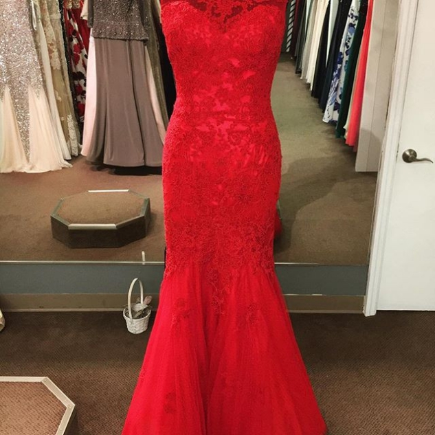 Red Round Neck Sleeveless Mermaid Tulle Prom Dresses 2017