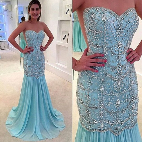 2bcfe89115a Blue Trumpet Mermaid Sweetheart Sleeveless Natural Zipper Floor-Length  Chiffon Prom Dresses 2017