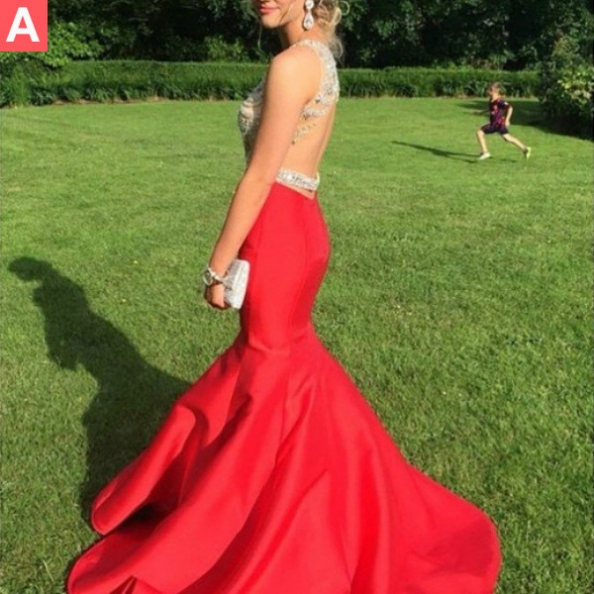 Red Crystal Backless Mermaid Prom Dresses 2017