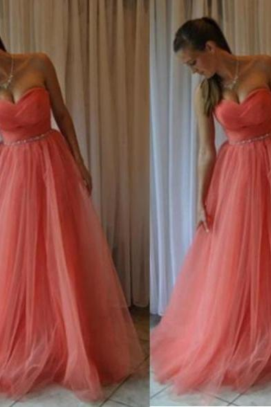 Sleeveless Formal Dress Sweetheart Floor-length Tulle Bandage Discount A-line Dress