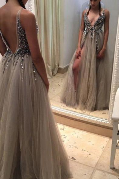 Sleeveless Formal Dress V-Neck Floor-length Tulle Crystal Backless Custom Made A-line Dress