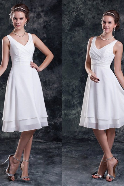 Sleeveless Formal Dress Straps Knee-length Chiffon Pleated Zipper On Sale A-line Dress