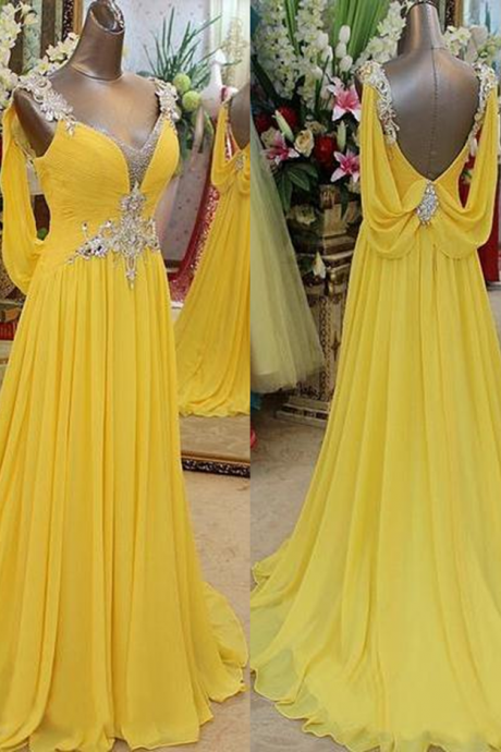 Sleeveless Formal Dress Straps Court Train Chiffon Beading Zipper Hot Sale A-line Dress