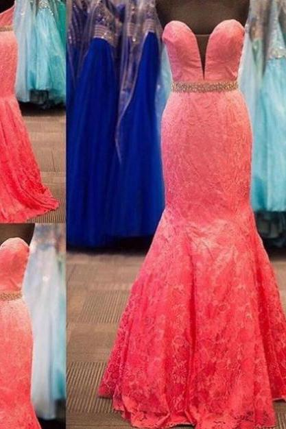 Sleeveless Formal Dress Sweetheart Floor-length Lace Beading Zipper Customized Mermaid Dress