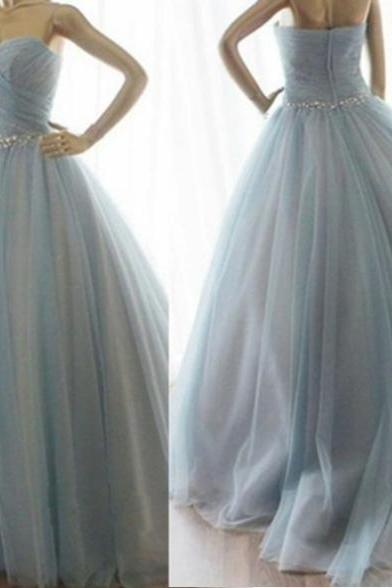 Sleeveless Formal Dress Sweetheart Floor-length Tulle Beading Zipper Customized Ball Gown Dress