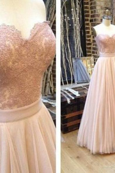 Sleeveless Formal Dress Sweetheart Floor-length Applique Custom Made A-line Dress