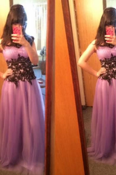 Sleeveless Formal Dress Sweetheart Floor-length Tulle Applique Lace Up Customized A-line Dress