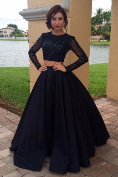 Full sleeve Formal Dress Round Floor-length Satin Beading Zipper On Sale A-line Dress