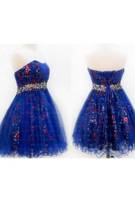 A lines Blue Homecoming Dresses Laced Up Sleeveless Tulle Sweetheart Neckline Above-Knee Homecoming Dress