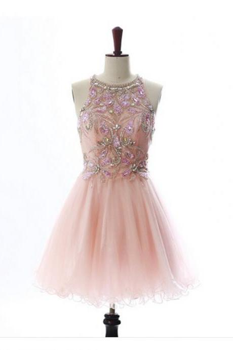 A lines Pink Homecoming Dresses Open Back Sleeveless Beaded Scoop Mini Homecoming Dress