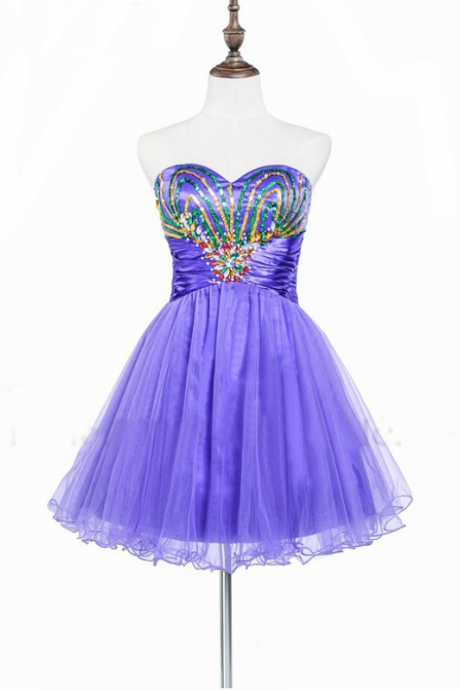 A lines Purple Homecoming Dresses Sheer Back Sleeveless Paillette Sweetheart Neckline Mini Homecoming Dress