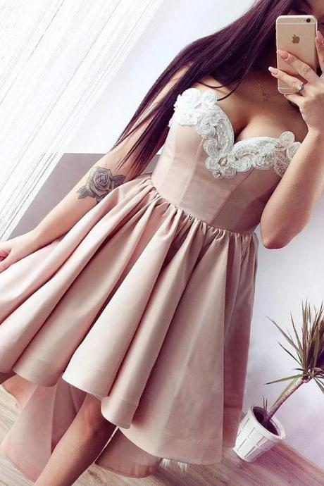 A lines Pearl Pink Homecoming Dresses Zippers Sleeveless Embroidered Strapless High-Low Homecoming Dress
