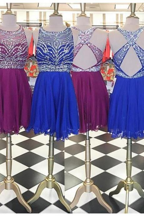 Aline Royal Blue Homecoming Dresses Open Back Sleeveless Beaded O-neck Above Knee Homecoming Dress