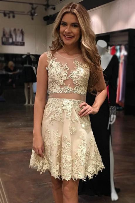A Line Champagne Homecoming Dresses Zippers Sleeveless Applique Off Shoulder Above-Knee Homecoming Dress