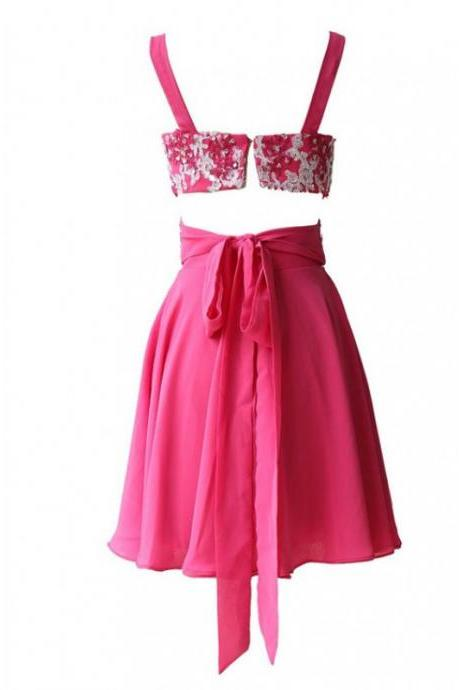 A-Line/Column Pink Homecoming Dresses Open Back Spaghetti Strap Embroidered Strap Above Knee Homecoming Dress