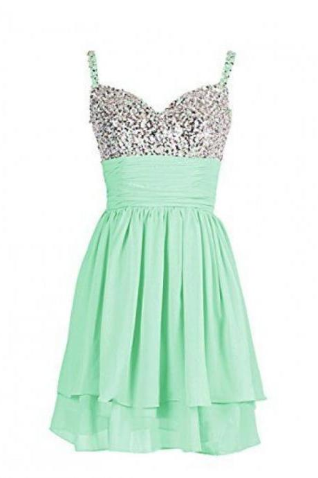 A-Line/Column Mint Homecoming Dresses Zippers Sleeveless Sequins Sweetheart Neckline Above-Knee Homecoming Dress