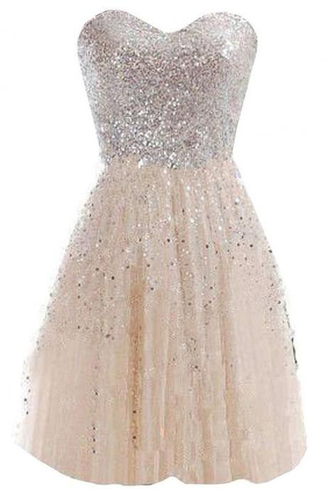 Aline Champagne Homecoming Dresses Appliques Sleeveless Sequined Sweetheart Neckline Mini Homecoming Dress