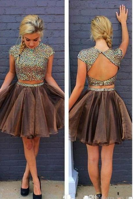 A lines Chocolate Homecoming Dresses Sheer Back Cap Sleeve Crystal Beads Ruffle Scoop Above-Knee Homecoming Dress