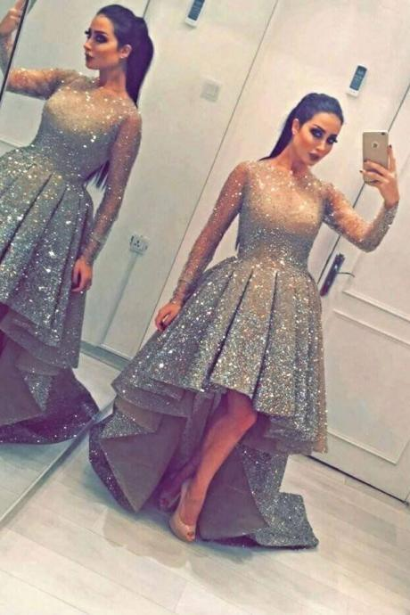 A-Line/Column Same as the picture Homecoming Dresses Zipper-Up Long Sleeves Sequins Illusion Asymmetry Homecoming Dress