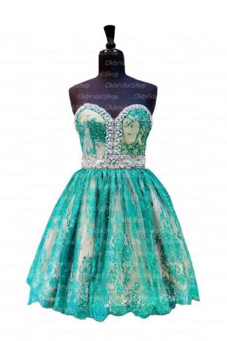 A Line Green Homecoming Dresses Zipper-Up Sleeveless Lace Sweetheart Neckline Mini Homecoming Dress