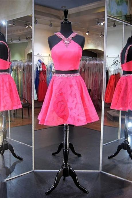 A-Line/Column Peach Homecoming Dresses Sheer Back Sleeveless Crystal Beads Ruffle Strap Mini Homecoming Dress