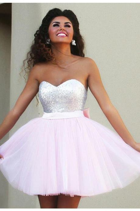 A lines Pink Homecoming Dresses Zippers Sleeveless Bows Sweetheart Neckline Above Knee Homecoming Dress