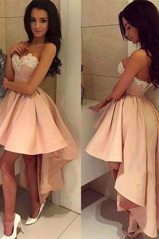 Empire Pearl Pink Homecoming Dresses Hollow Sleeveless Chiffon Sweetheart Neckline Hi-Lo Homecoming Dress