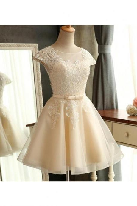 A-Line/Column Champagne Homecoming Dresses Zipper-Up Cap Sleeve Lace Round Neck Mini Homecoming Dress