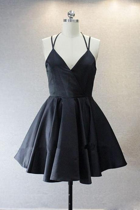Aline Black Homecoming Dresses Lace-Up Spaghetti Strap Hem Haltered Short Homecoming Dress