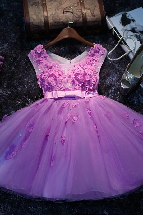 A lines Lavender Homecoming Dresses Zippers Sleeveless Appliqued Notched Above Knee Homecoming Dress