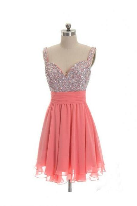 A lines Peach Homecoming Dresses Zipper-Up Sleeveless Beaded Sweetheart Neckline Mini Homecoming Dress