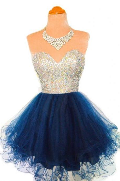Aline Dark Blue Homecoming Dresses Laced Up Sleeveless Bandage Sweetheart Neckline Above Knee Homecoming Dress