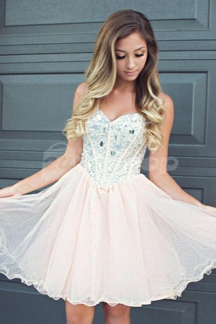 N/A Pink Homecoming Dresses Zippers Sleeveless Tulle Sweetheart Neckline Short Homecoming Dress