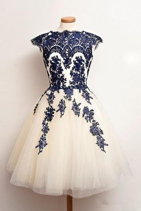 A lines Dark Blue Homecoming Dresses Zipper-Up Capped Sleeves Appliques Jewels Above Knee Homecoming Dress