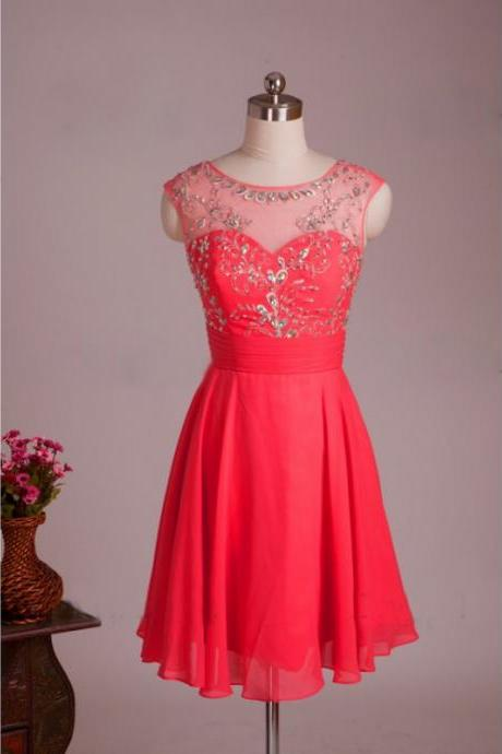 A-Line/Column Watermelon Homecoming Dresses Zippers Sleeveless Crystal Beads Ruffle Scoop Mini Homecoming Dress