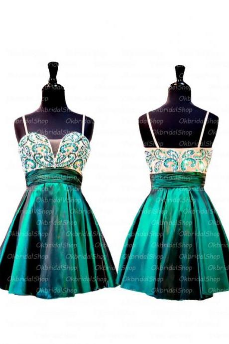 A Line Green Homecoming Dresses Sheer Back Sleeveless Beaded Sweetheart Neckline Above Knee Homecoming Dress