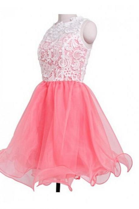 A Line Watermelon Homecoming Dresses Covered Button Sleeveless Lace Scalloped-Edge Mini Homecoming Dress