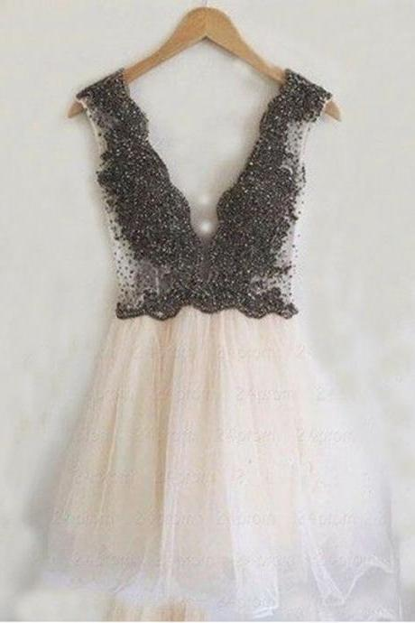 Aline Pink Homecoming Dresses Open Back Sleeveless Beaded Deep V Neck Mini Homecoming Dress
